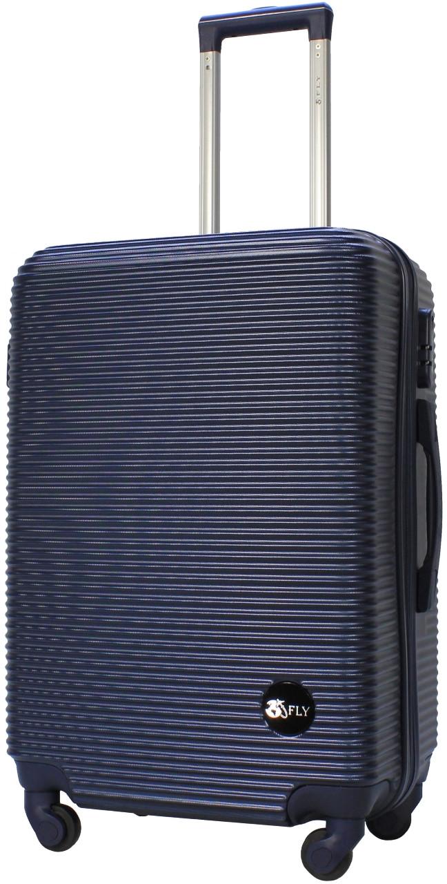 Валіза пластикова на 4х колесах середня M темно-синя   25х65х42 см   3.150 кг   62 л   FLY 91240