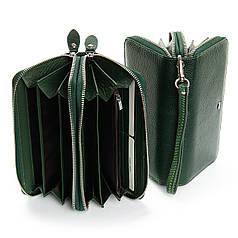 Женский кошелек кожаный на две молнии зеленый с кистьевым ремнем Dr.Bond W39-3