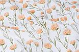 """Сатин тканина """"Персикові квіти на довгих стеблах"""" на білому №3441с, фото 4"""