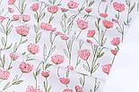 """Сатин ткань """"Розово-лососевые цветы на длинных стеблях"""" на белом, №3442с, фото 4"""