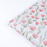 """Сатин ткань """"Розово-лососевые цветы на длинных стеблях"""" на белом, №3442с, фото 3"""
