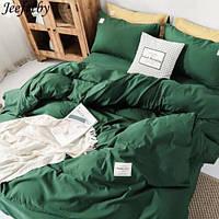 Полуторна постільна білизна Ranforce комплект темно-зелене