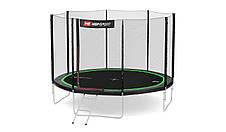 Батут для прыжков детский Hop-sport 12ft ( 3метра ) с внешней сеткой и лестницей черно-зеленый, фото 2
