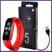 Фитнес Браслет M5 Smart Band с Пульсомером \Тонометром\ Трекер М5 Красные, фото 1