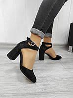 Женские босоножки на каблуке из комбинированной кожи, фото 1