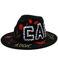 Шляпа Федора унисекс с росписью Cap черная
