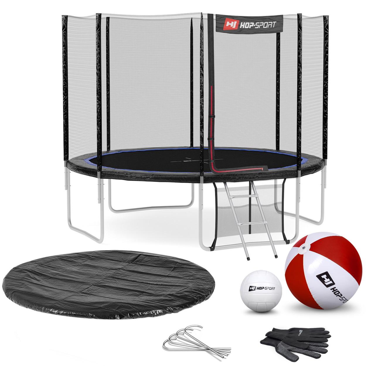 Батут для прыжков с внешней сеткой Hop-Sport садовый до 150кг черно-синий