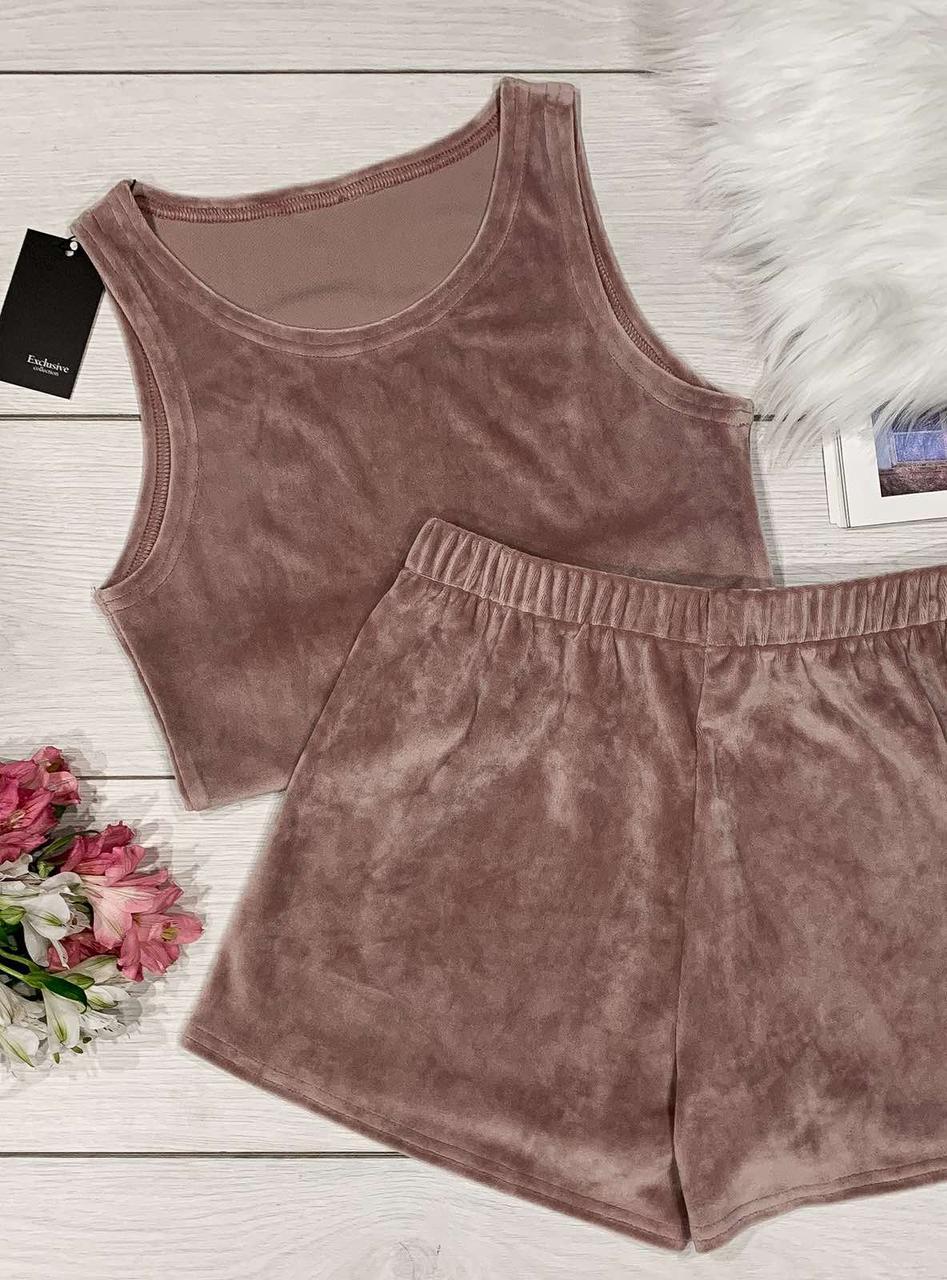 Плюшевий пудровий комплект для будинку майка-топ+шорти.