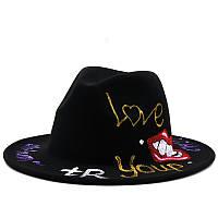 Шляпа Федора унисекс с росписью Love черная