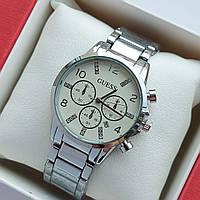 Жіночі наручні годинники Guess срібло з білим циферблатом, хронографи, дата - код 1975, фото 1