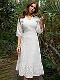 Летнее платье из прошвы длиной миди и рукавом три четверти, фото 3