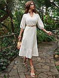 Летнее платье из прошвы длиной миди и рукавом три четверти, фото 2