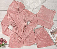 Персиковый плюшевый комплект накидка+топ+шорты.