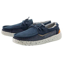 Летние мужские туфли топсайдеры Hey Dude 112222535 Grip Navy синие