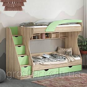 Дитяча двох'ярусна ліжко з шухлядами для білизни Кадет (МДФ)