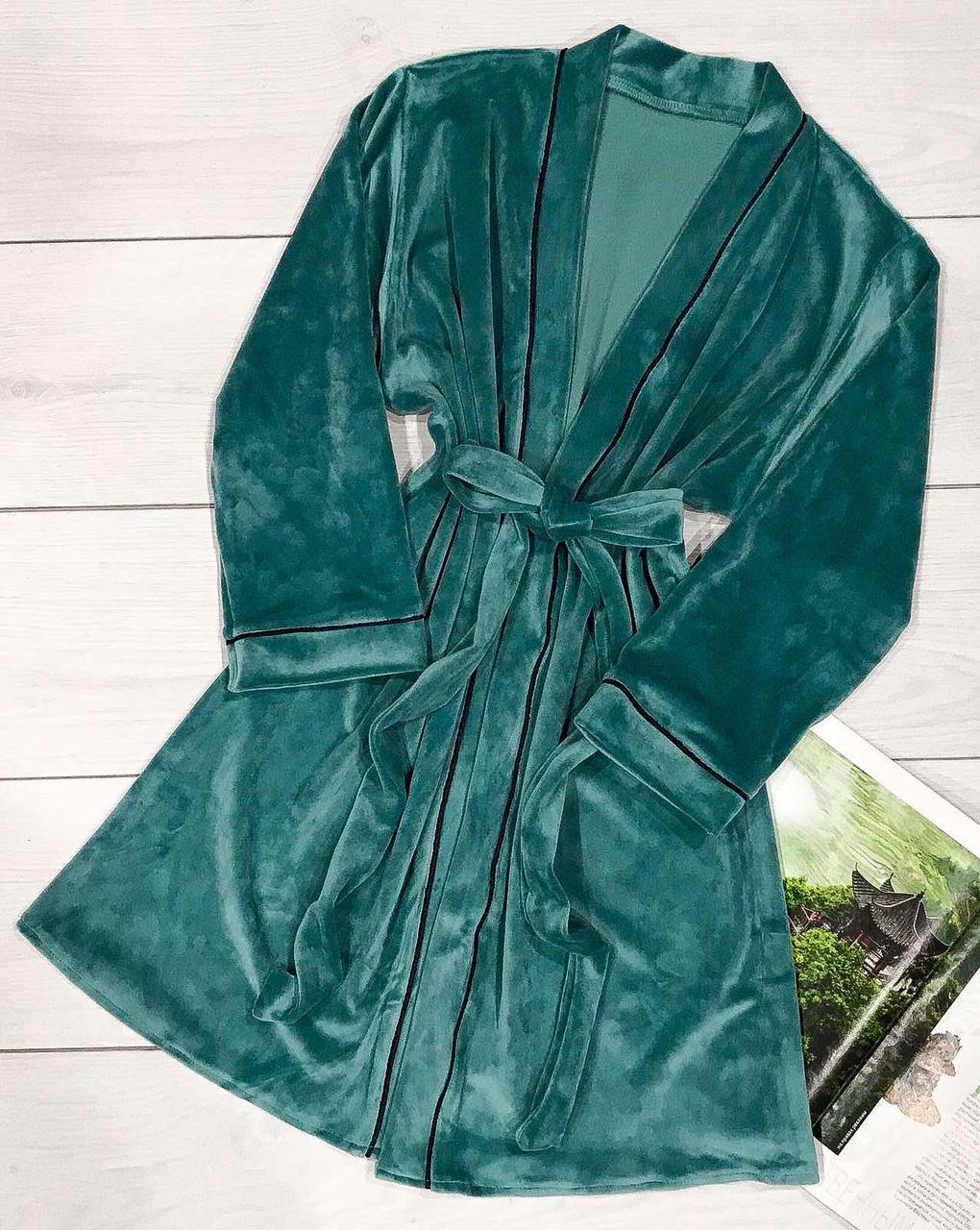 Модный изумрудный халат женский, теплый халат.