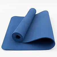 Коврик для йоги и фитнеса TPE (йога мат, каремат спортивный) OSPORT Yoga ECO Pro 6мм (OF-0082) Синий