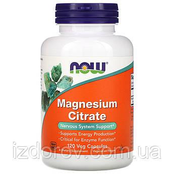 Now Foods, Цитрат магния, Magnesium Citrate, поддержка ЖКТ, нервной системы и сердца, 120 растительных капсул