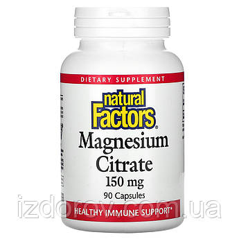 Natural Factors, Цитрат магния, 150 мг, Magnesium Citrate, 90 капсул