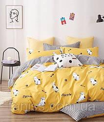 """Полуторний набір постільної білизни Бязь """"Gold"""", колір як на фото, котики на жовтому"""