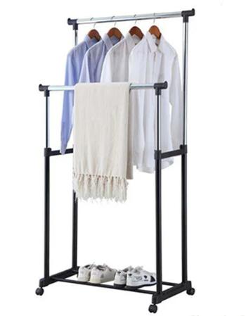 Телескопічна подвійна стійка, вішалка для одягу і взуття Double Pole Clothes Horse