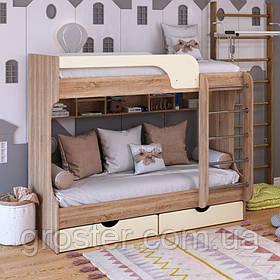 Детская двухъярусная кровать Юнга МДФ с ящиками