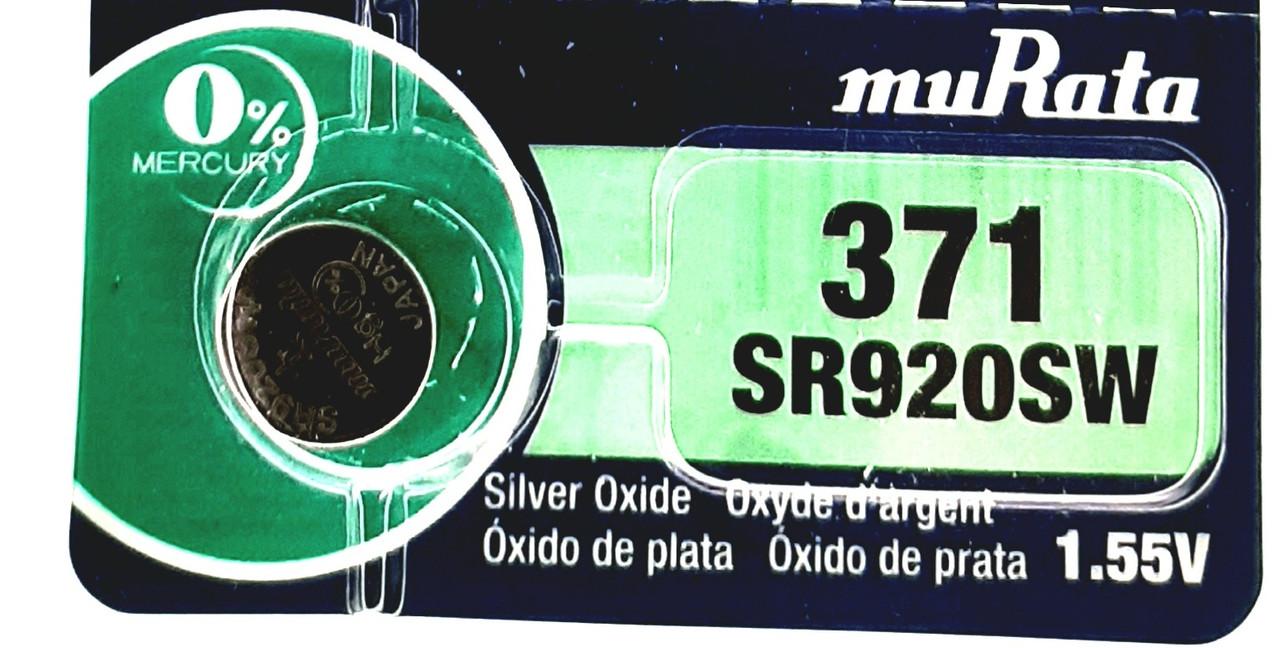 Батарея для годинника. muRata/Sony SR920SW (371) 1.55 V 39mAh 9,5x2.05mm Серебрянно-цинкова