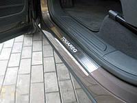 Volkswagen Touareg 2010-2018 гг. Накладки на пороги Натанико (4 шт, нерж) Premium - лента 3М, 0.8мм