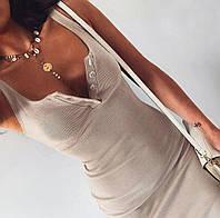Платье на пуговка  трикотаж рубчик, фото 1