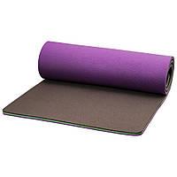Коврик для фитнеса трехслойный PERTO 1800х590х15 мм Фиолетово-серый