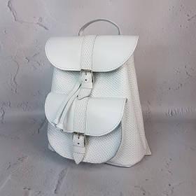 """Рюкзак жіночий """"ВОЯЖ"""" натуральна шкіра, біла під плетінку"""