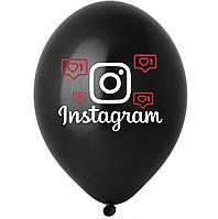 "Латексна кулька 12"" чорна з малюнком ""Instagram"" (BelBal)"