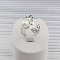 Кольцо родий с завитками и жемчугом, 16 размер