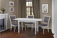 Стол обеденный Венеция белый + серебряная патина