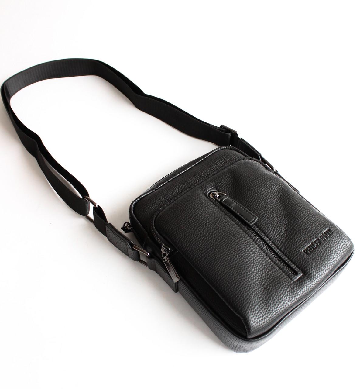 Мужская черная сумка-мессенджер