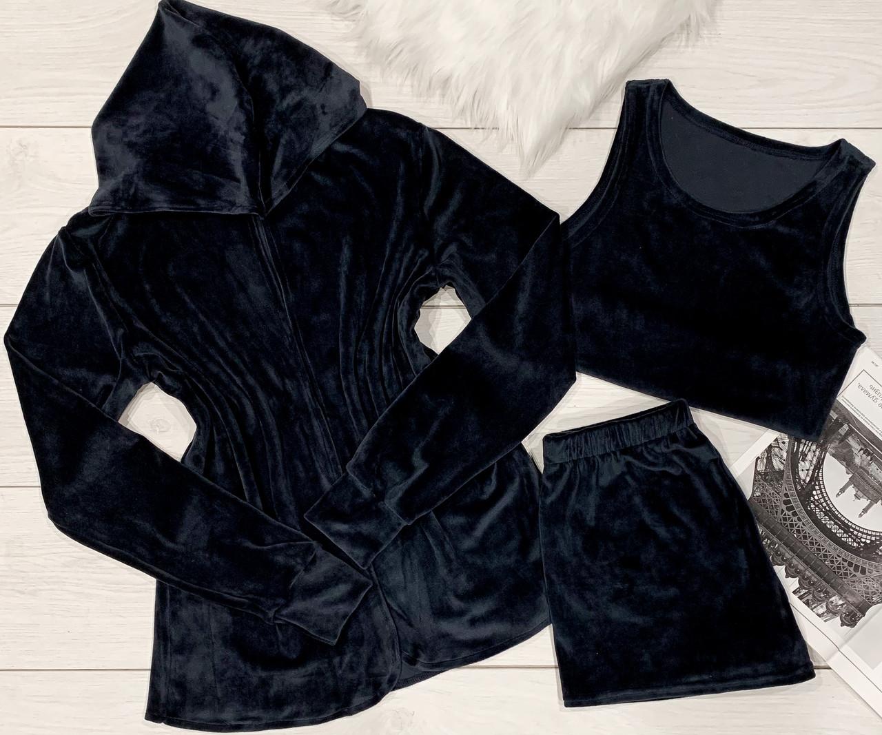 Модний комплект накидка+топ+шорти з плюшу.