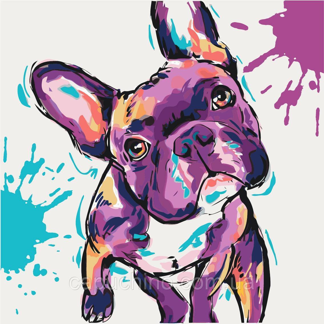Картина рисование по номерам Идейка Забавный бульдог KH4009 40х40 см Коты и собаки набор для росписи краски,