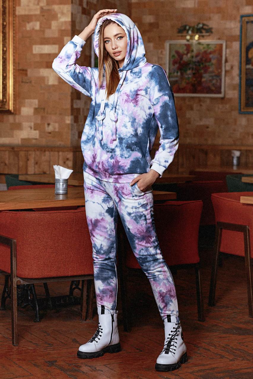 Спортивный костюм женский расветка Тай Дай, трехнитка, Лорен   размеры  S- M, L-XL