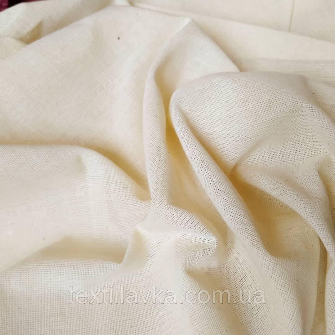 Тканина бавовна для рукоділля суворий беж ,рідкісне плетіння