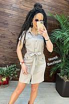 Стильное платье рубашка из льна на пуговицах с карманами, фото 3