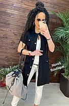 Стильное платье рубашка из льна на пуговицах с карманами, фото 2