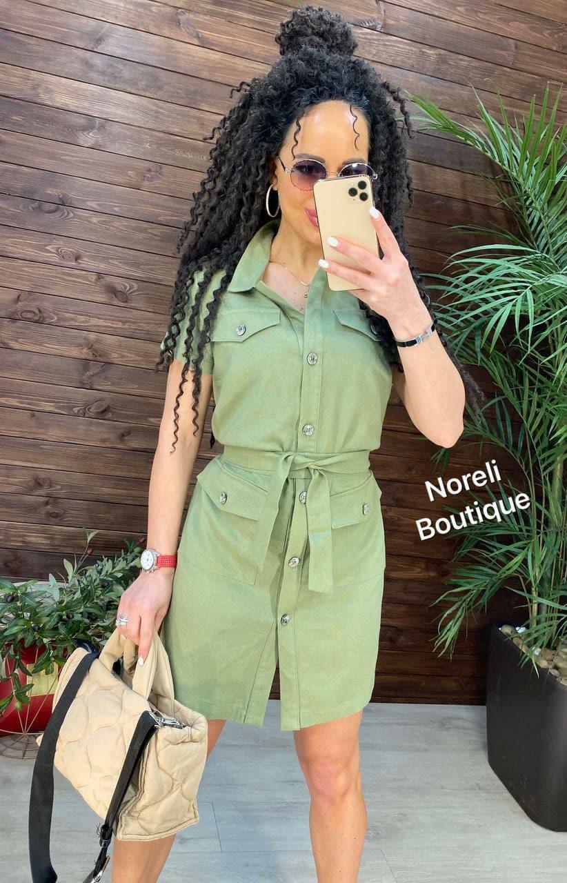 Стильное платье рубашка из льна на пуговицах с карманами