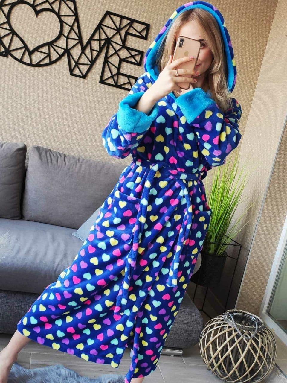 Стильный длинный теплый махровый халат с сердцами Турция