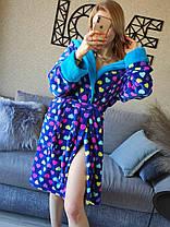 Стильный длинный теплый махровый халат с сердцами Турция, фото 2