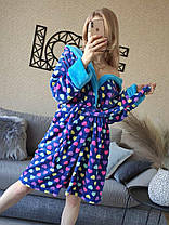 Стильный длинный теплый махровый халат с сердцами Турция, фото 3