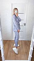 Стильний жіночий брючний костюм в клітину (Норма), фото 5