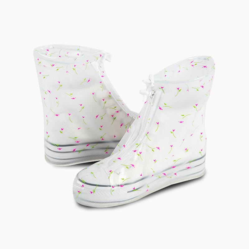 Гумові бахіли на взуття від дощу Lesko SB-102 квіточки S багаторазові (6300-21180)