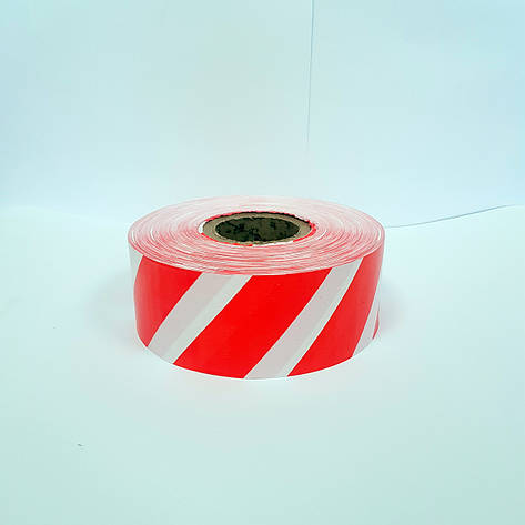 Лента сигнальная красно-белая 80 мм*500 м, фото 2