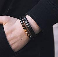 Мужские браслеты из натуральных камней и кожи (комплект), кожаный браслет, каменный браслет