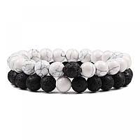 Парные мужские женские браслеты из натуральных камней для двоих, каменные, черный белый